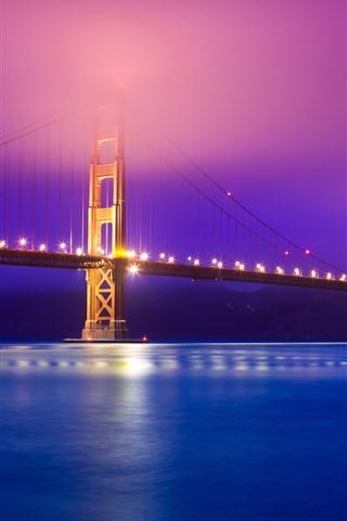 iPhone Wallpaper Golden Gate Bridge, river, lights, night, hazy, USA