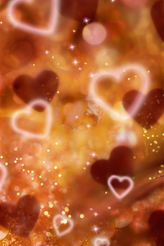 iPhone Wallpaper Love hearts, glare, hazy, shine