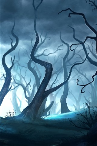 iPhone Wallpaper Magic forest, art picture