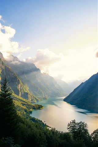 iPhone Wallpaper Mountains, river, fjord, sun rays, beautiful nature landscape
