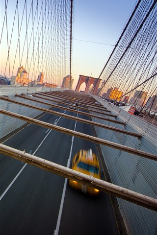 iPhone Wallpaper New York, bridge, cars, speed, USA