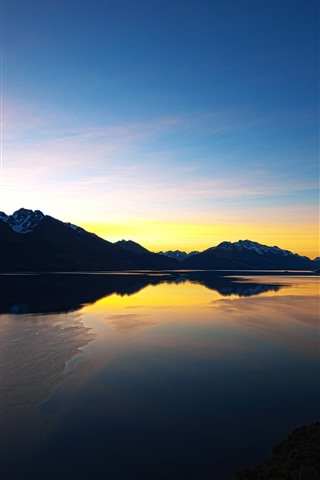 iPhone Wallpaper New Zealand, river, sunset, mountains