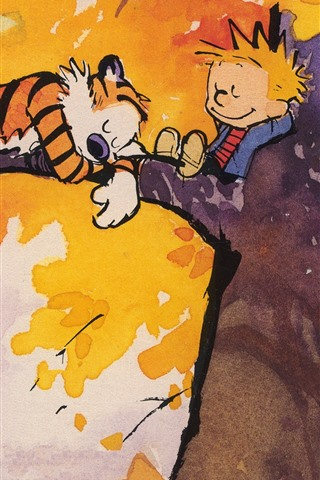 iPhone Wallpaper Painting, tiger and boy sleep in tree
