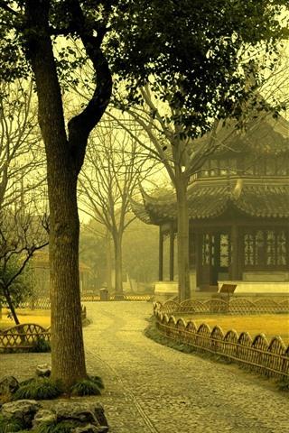 iPhone Wallpaper Park, trees, morning, fog, gazebo, China
