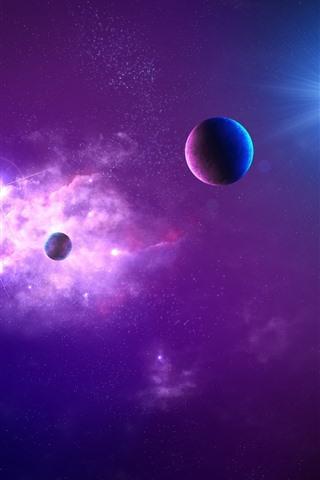 iPhone Wallpaper Purple space, planets, stars, glare