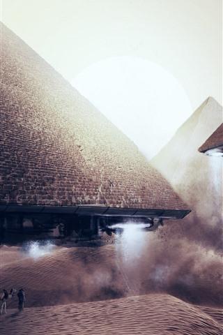 iPhone Wallpaper Pyramids flight, alien, UFO, creative picture