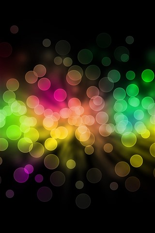 iPhone Wallpaper Rainbow color light circles, colorful, abstract