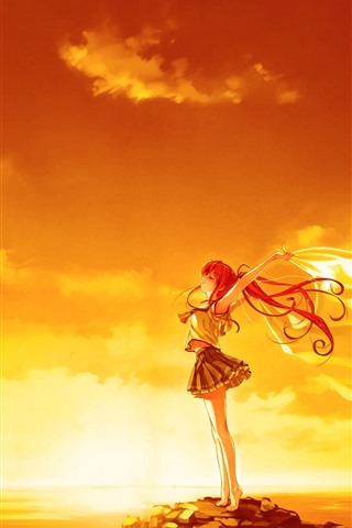 iPhone Wallpaper Red hair anime girl, pose, sunset, wind, clouds, sea