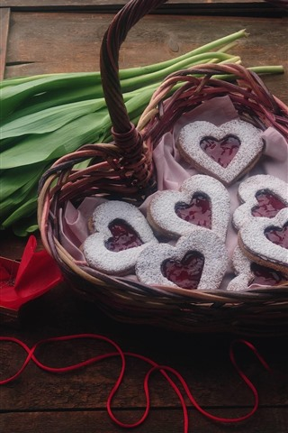 iPhone Wallpaper Red tulips, love hearts cookies, basket