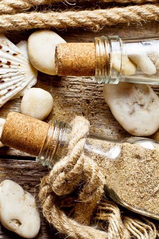 iPhone Wallpaper Still life, seashell, bottle, sand, rope, stones