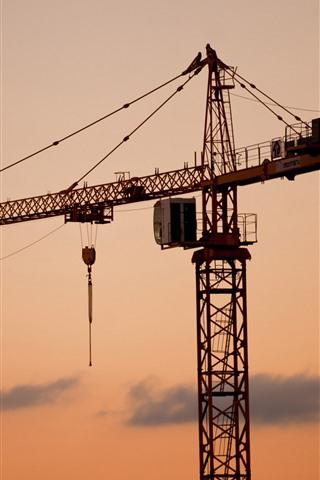 iPhone Wallpaper Sunset, machine, crane