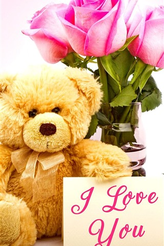 iPhone Wallpaper Teddy bear, pink rose, I Love You, romantic