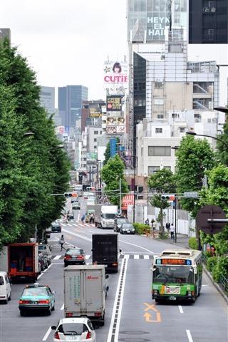 iPhone Wallpaper Tokyo, city, road, cars, buildings, Japan