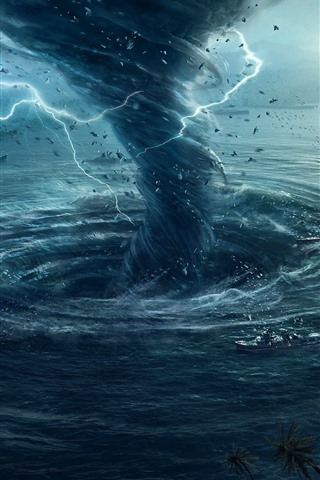 iPhone Wallpaper Tornado, storm, lightning, ship, sea, creative picture