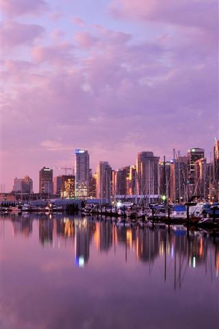 iPhone Wallpaper Vancouver, dusk, buildings, river, boats, lights