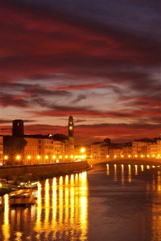iPhone Wallpaper Venice, night, lights, river, bridge, houses, city, Italy