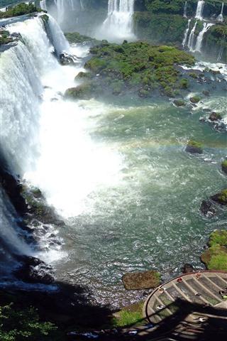 iPhone Wallpaper Waterfalls, fog, stones, moss, top view
