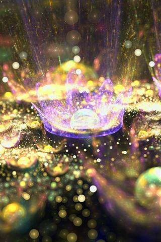 iPhone Wallpaper Abstract flowers, shine, splashing