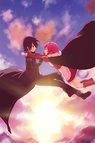 iPhone Wallpaper Anime girl and boy, flight in sky, sunset