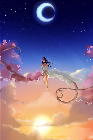 iPhone Wallpaper Anime girl, sky, moon, sun, clouds, branches