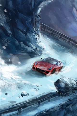 iPhone Hintergrundbilder Kunstmalerei, Schnee, Supersportwagen, Felsen
