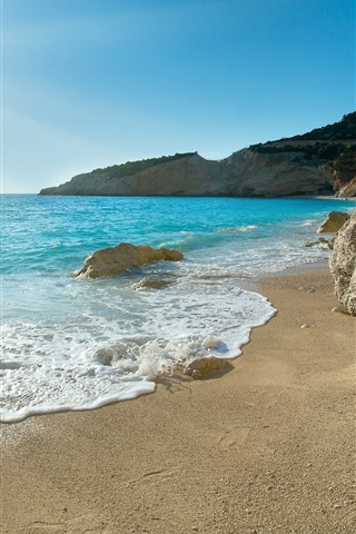 iPhone Wallpaper Beach, blue sea, foam, waves, sunshine