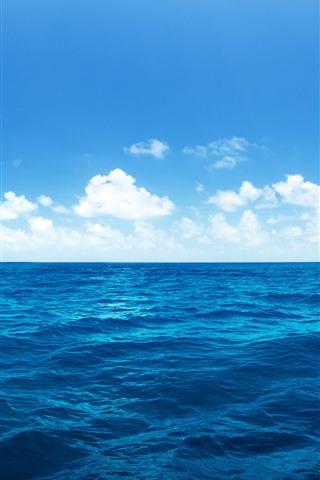 iPhone Wallpaper Beautiful blue sea, water, white clouds