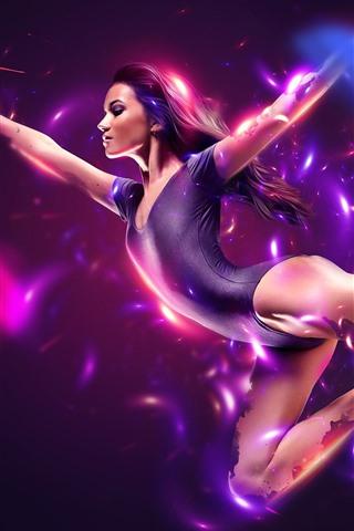 iPhone Wallpaper Beautiful dancing girl, violet leotards, pose, magic, creative picture
