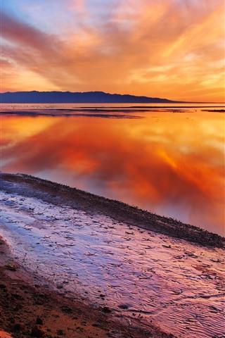 iPhone Wallpaper Beautiful dusk, lake, water reflection, orange sky, clouds, sunset