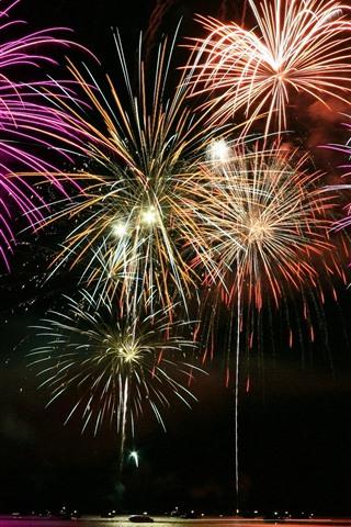 iPhone Wallpaper Beautiful fireworks, night, lake