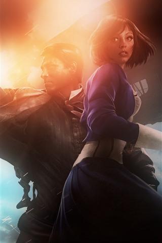 iPhone Papéis de Parede Bioshock Infinite, jogo para PC, menina e homem