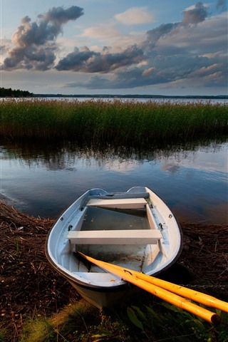 iPhone Wallpaper Boat, lake, dusk, reeds, clouds