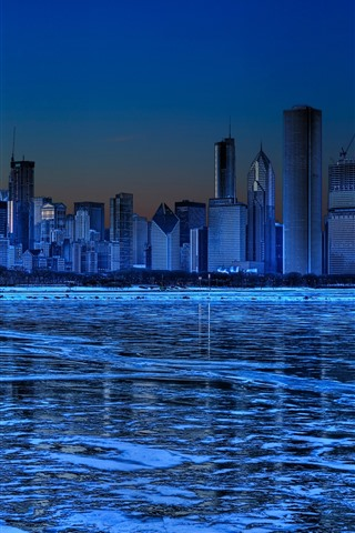iPhone Wallpaper Chicago, skyscrapers, ice, river, winter, night, blue, creative picture
