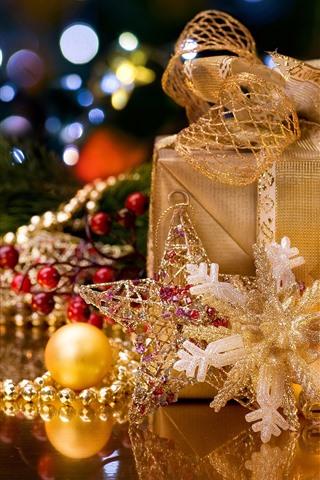 iPhone Wallpaper Christmas, gift, candle, snowflake