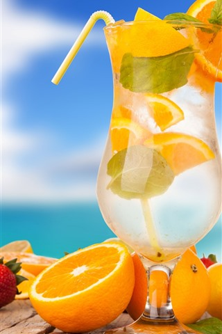 iPhone Wallpaper Cocktail, glass cup, oranges, strawberry, banana