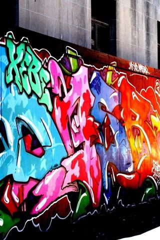 iPhone Wallpaper Colorful graffiti, street, city