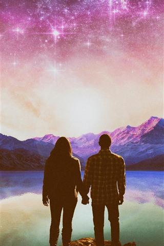 iPhone Wallpaper Couple, lake, stars, shine, mountains, creative picture