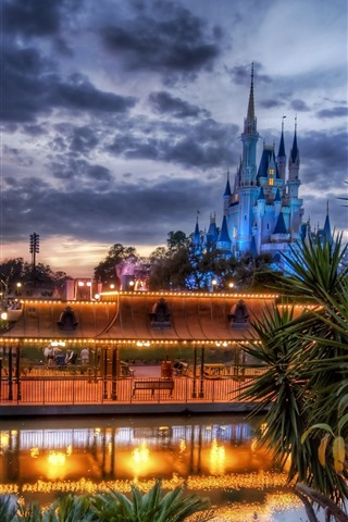 iPhone Wallpaper Disneyland, lake, castle, lights, clouds, dusk