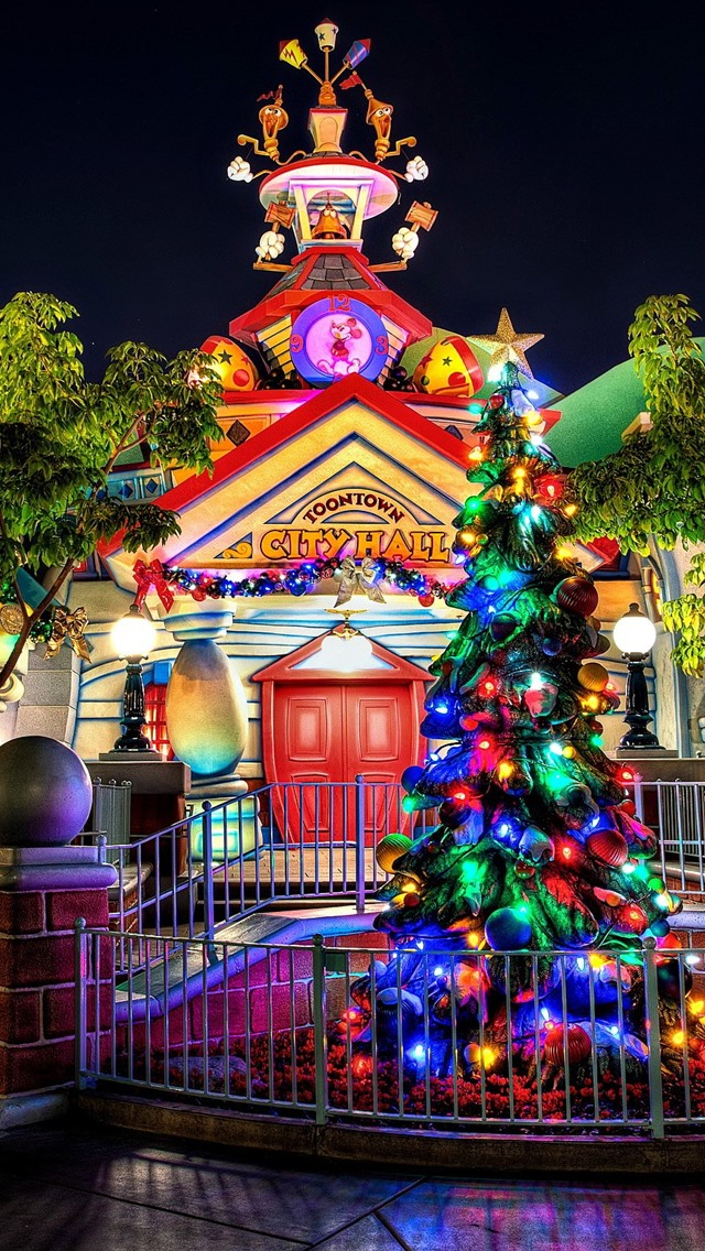 Disneyland Trees Lights Night 750x1334 Iphone 8 7 6 6s Wallpaper Background Picture Image