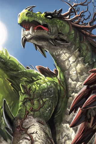 iPhone Wallpaper Green dragon, art picture