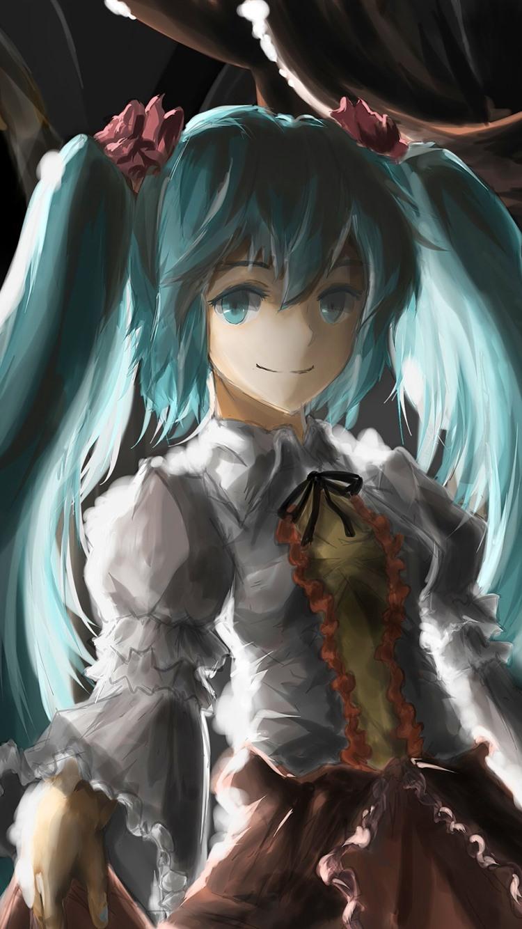 Wallpaper Hatsune Miku, blue hair anime girl, art painting ...