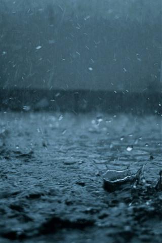 iPhone Wallpaper Heavy rain, water drops, dark