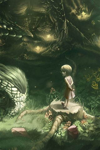 iPhone Wallpaper Little girl and dragon, art picture