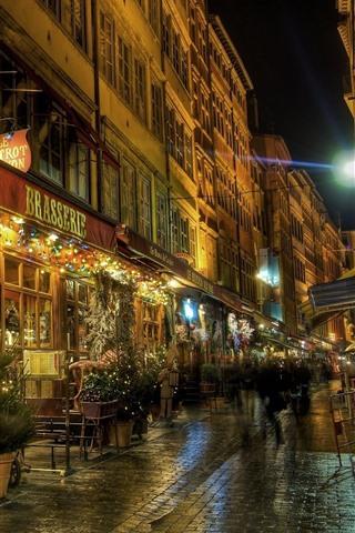 iPhone Wallpaper Lyon, night, street, shop, lights, France