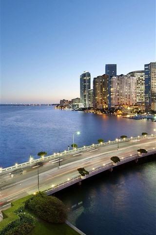iPhone Wallpaper Miami, city, dusk, bridge, river, lights, USA