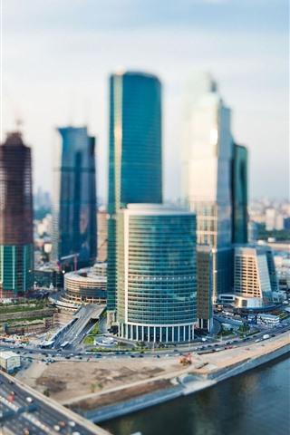 iPhone Wallpaper Moscow, city, skyscrapers, river, bridge, Russia