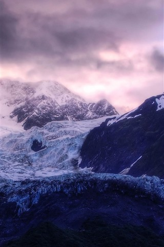 iPhone Wallpaper Mountains, ice, glaciers, clouds