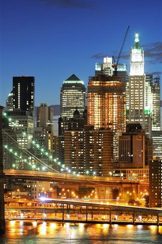 iPhone Wallpaper New York, night, lights, bridge, river, USA