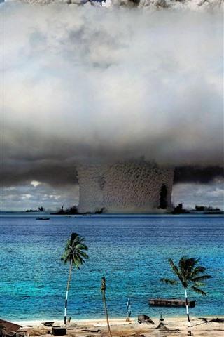 iPhone Wallpaper Nuclear explosion, mushroom cloud, sea