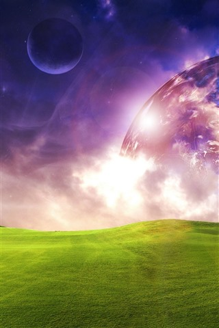 iPhone Wallpaper Planets, green meadow, dream world